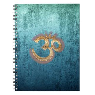 OM blue brass gold damask Asia Yoga Spiritualität Notebooks