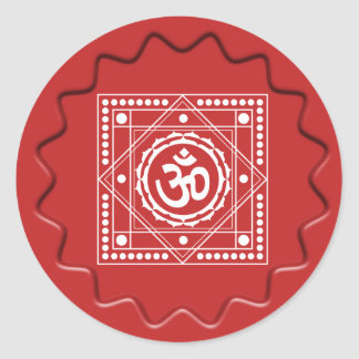 Om Design on Red Wax Seal Round Sticker