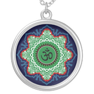 Om Design Silver Plated Necklace