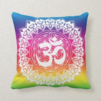 OM Flower of Life Mandala Rainbow Pillow