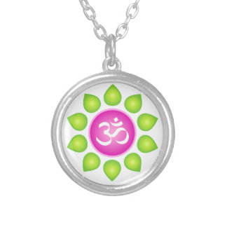 Om gear silver plated necklace
