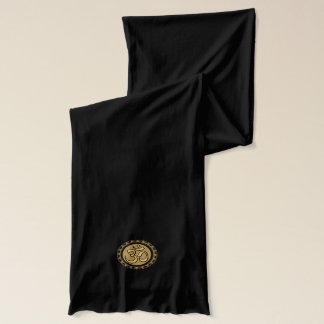 Om Gold Black Scarf
