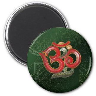 OM green red yoga hindu Magnet
