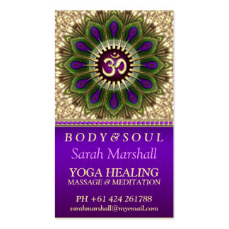 OM Holistic Royal Purple+Green Peacock Mandala Pack Of Standard Business Cards