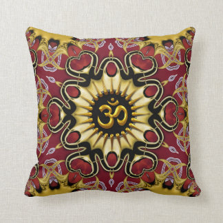 Om Love Hearts Red & Gold Cushion / Pillow