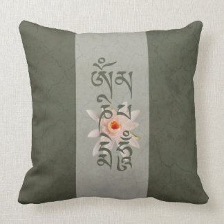 Om Mani Padme Hum Lotus - Blue-green Cushion