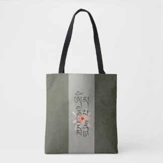 Om Mani Padme Hum Lotus - Blue-green Tote Bag