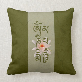 Om Mani Padme Hum Lotus - Green Cushion