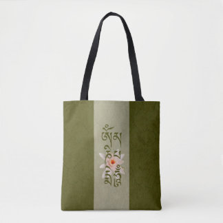 Om Mani Padme Hum Lotus - Green Tote Bag