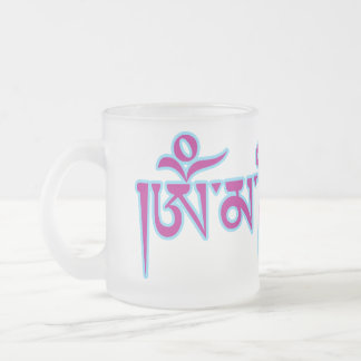 Om Mani Padme Hum Tibetan Script Buddhist Mantra Frosted Glass Coffee Mug