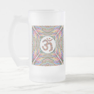 Om Mantra Jewel Collection Frosted Glass Beer Mug