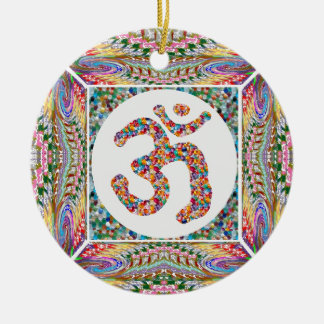 OM MANTRA OmMantra Hinduism Yoga Indian Peace Ceramic Ornament