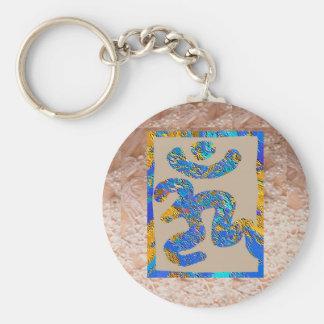 OM Mantra on Golden Jewel Base Art Keychains