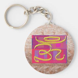 OM Mantra on Golden Jewel Base Art Basic Round Button Key Ring