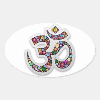 Om Ohm Aum Namaste Yoga Symbol Oval Sticker
