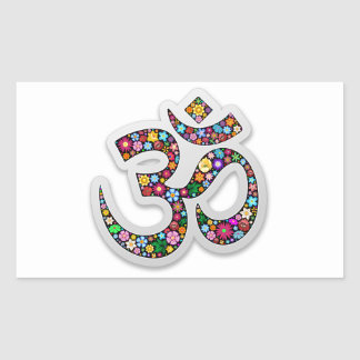 Om Ohm Aum Namaste Yoga Symbol Rectangular Sticker