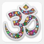 Om Ohm Aum Namaste Yoga Symbol Square Stickers