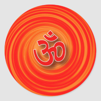 Om On Twirl Background Classic Round Sticker