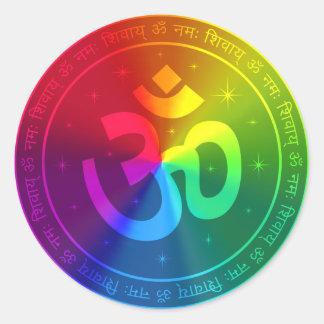 Om Rainbow Design Round Sticker