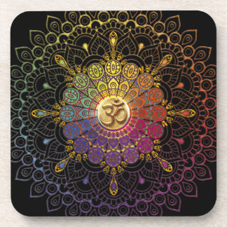 OM Rainbow Flower of Life Coaster