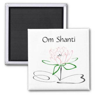 Om Shanti Pink Green Lotus Magnet