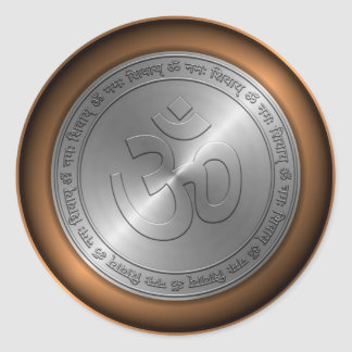 Om Sign Embossed on Metallic Coin Round Sticker