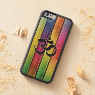 Om sign on multicolor wood carved maple iPhone 6 bumper case