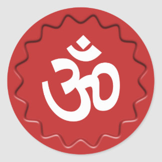 Om Sign on Red Wax Seal Round Sticker