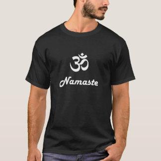 Om symbol and Namaste - white text on dark t-shirt
