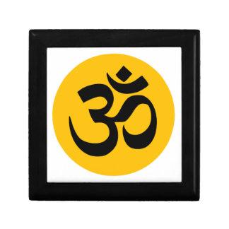 Om Symbol, black circle with gold Gift Box