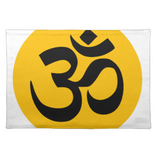 Om Symbol, black circle with gold Placemat