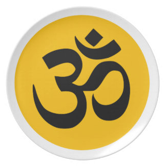 Om Symbol, black circle with gold Plate