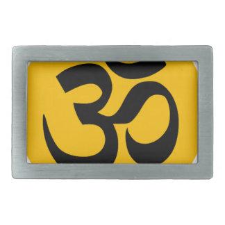 Om Symbol, black circle with gold Rectangular Belt Buckle