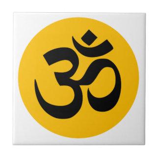 Om Symbol, black circle with gold Tile