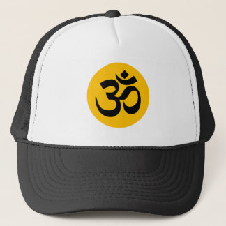 Om Symbol, black circle with gold Trucker Hat