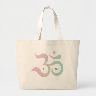 Om symbol in Sanskrit pastel pink green blue beige Large Tote Bag