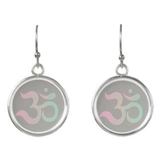 Om symbol in Sanskrit pastel pink green gray grey Earrings