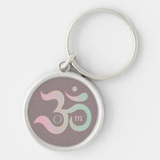 Om symbol in Sanskrit pastel pink green mauve Key Ring