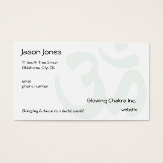 Om Symbol on front in pale green Business Card