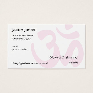 Om Symbol on front in pale pink Business Card