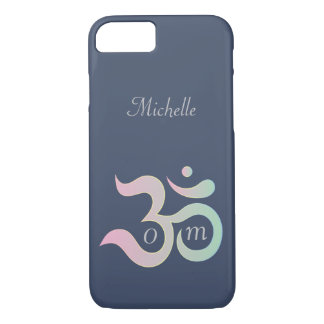 Om symbol pastel pink green blue customized name iPhone 8/7 case