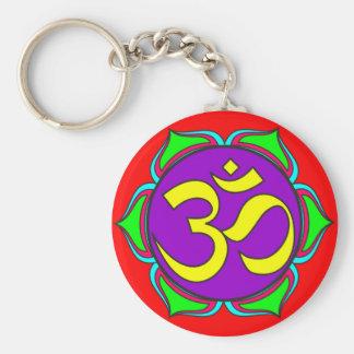 om symbol sacred Buddhism religion zen yoga flower Key Ring