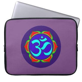 om symbol sacred Buddhism religion zen yoga flower Laptop Sleeve