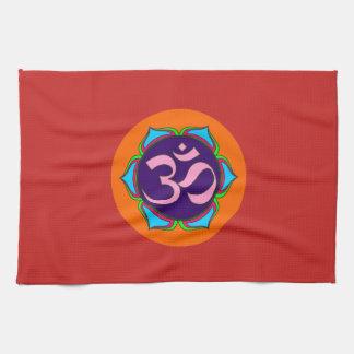om symbol sacred Buddhism religion zen yoga flower Tea Towel