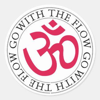 Om Symbol & Slogan Classic Round Sticker