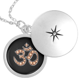 """Om Symbol with """"Amber"""" or """"Topaz"""" Stones Silver Plated Necklace"""