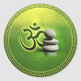 OM symbol  with zen stones on gentle green Classic Round Sticker