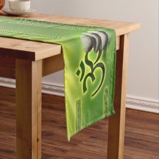 OM symbol  with zen stones on gentle green Short Table Runner