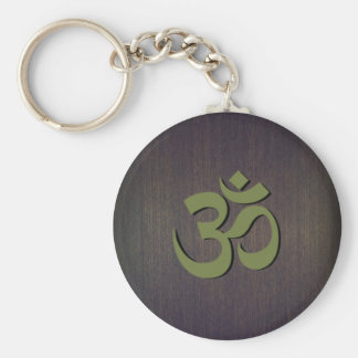 OM Symbol Wood Look Basic Round Button Key Ring