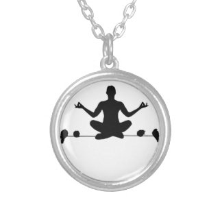 Om the Wire Silver Plated Necklace